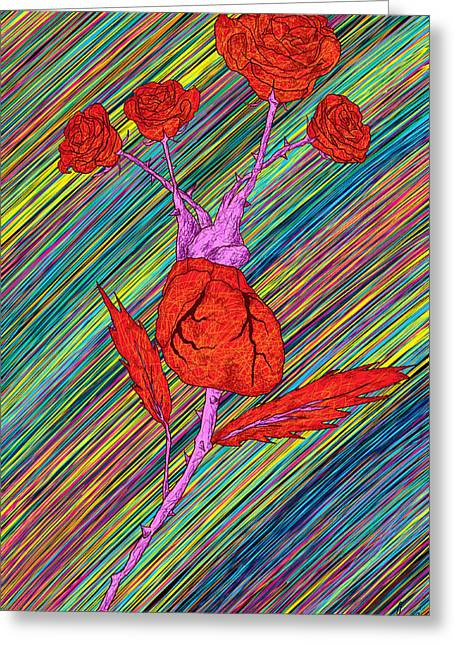 Heart Made Of Roses Drawing For Sale Greeting Cards - Heart Made of Roses Greeting Card by Kenal Louis