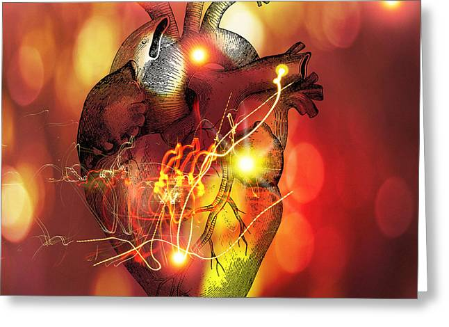 Circulation Greeting Cards - Heart Greeting Card by Mehau Kulyk