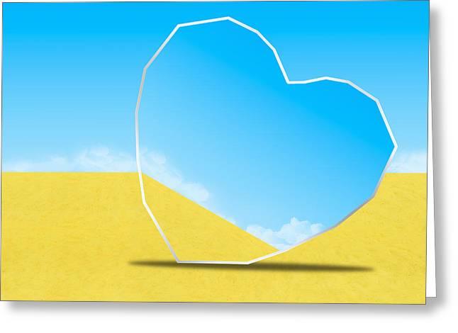 Reflex Greeting Cards - Heart Mirror Greeting Card by Setsiri Silapasuwanchai