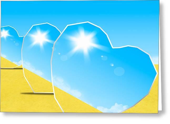 Reflex Greeting Cards - Heart Mirrors Greeting Card by Setsiri Silapasuwanchai