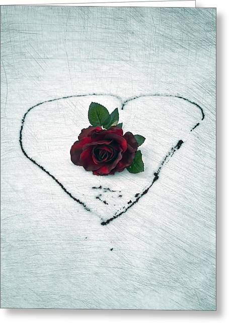 Rose Petal Heart Greeting Cards - Heart Of Blood Greeting Card by Joana Kruse