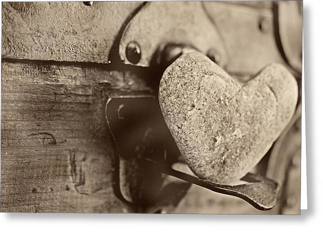Heart Rocks Greeting Cards - Heart of stone Greeting Card by Toni Hopper