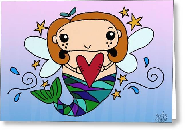 Recently Sold -  - Angel Mermaids Ocean Greeting Cards - Heart Of The Ocean Greeting Card by Jennifer Heath Henry