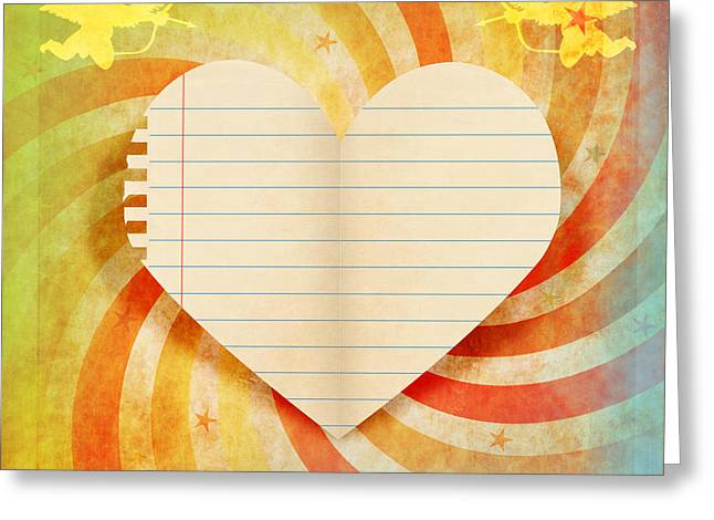 Beautiful Day Greeting Cards - Heart Paper Retro Design Greeting Card by Setsiri Silapasuwanchai
