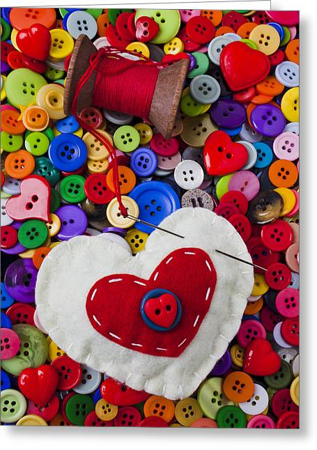 Spool Greeting Cards - Heart pushpin chusion  Greeting Card by Garry Gay