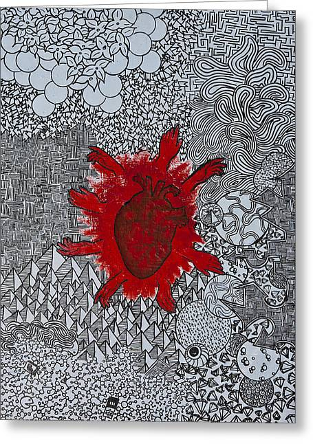 Painted Details Drawings Greeting Cards - Heart Reaching Out Greeting Card by Peter Cagno