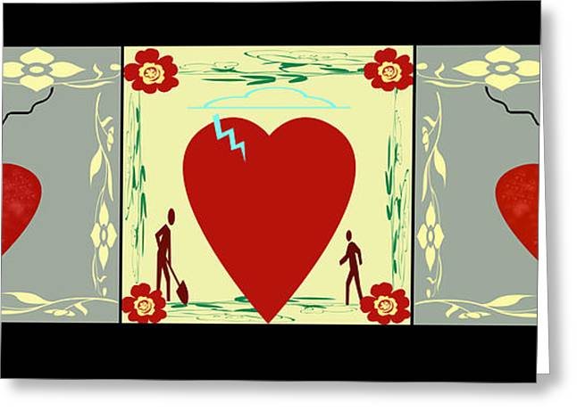 Abstract Digital Paintings Greeting Cards - Heart Series Four Greeting Card by Dede Shamel Davalos