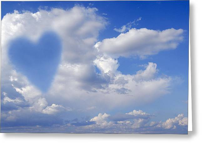 Heart Disease Greeting Cards - Heart Shape In Clouds, Conceptual Image Greeting Card by Tony Craddock