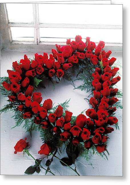 Wreath Greeting Cards - Heart shape made of roses Greeting Card by Garry Gay