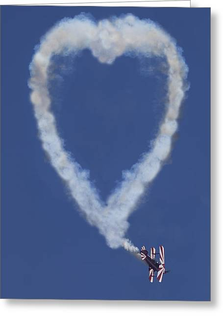Smoke Trail Greeting Cards - Heart shape smoke and plane Greeting Card by Garry Gay