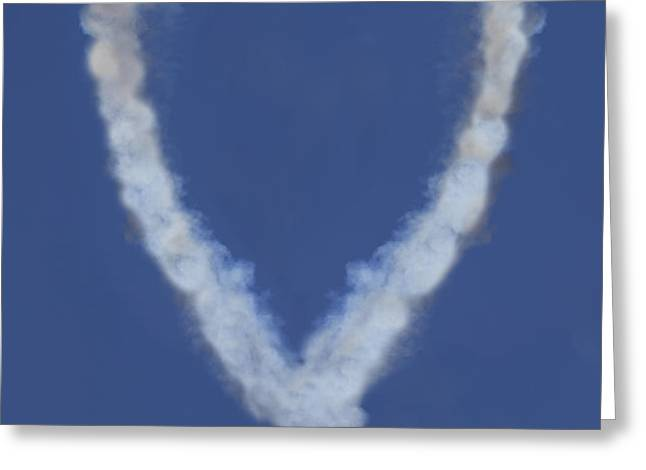 Heart shape smoke and plane Greeting Card by Garry Gay