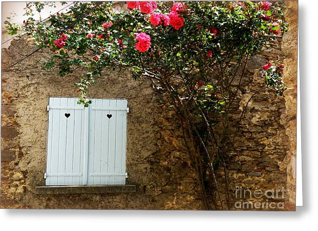 Lainie Wrightson Greeting Cards - Heart Shutters and Red Roses Greeting Card by Lainie Wrightson
