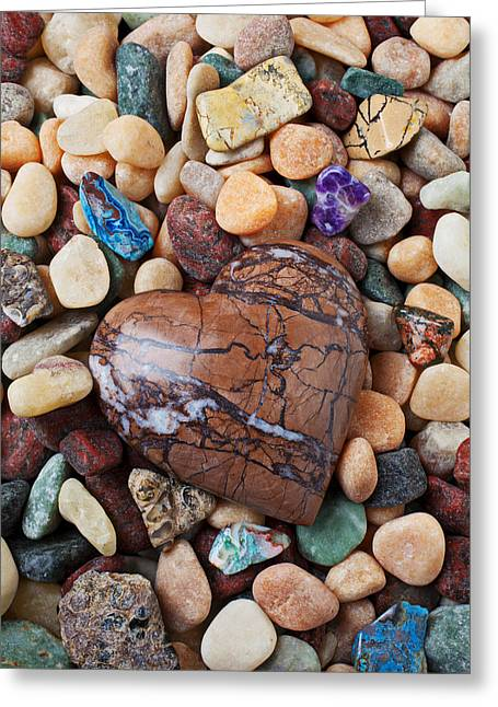 Hard Life Greeting Cards - Heart stone among river stones Greeting Card by Garry Gay