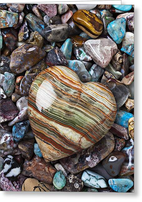 Colored Stones Greeting Cards - Heart Stone Greeting Card by Garry Gay