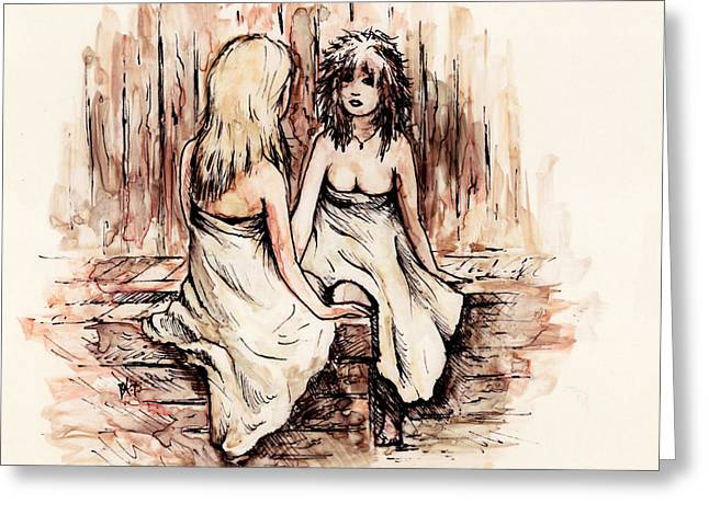 Conversations Drawings Greeting Cards - Heart to Heart Greeting Card by Rachel Christine Nowicki