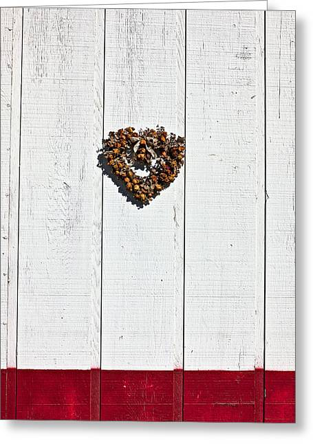 Dried Flower Greeting Cards - Heart wreath on wood wall Greeting Card by Garry Gay