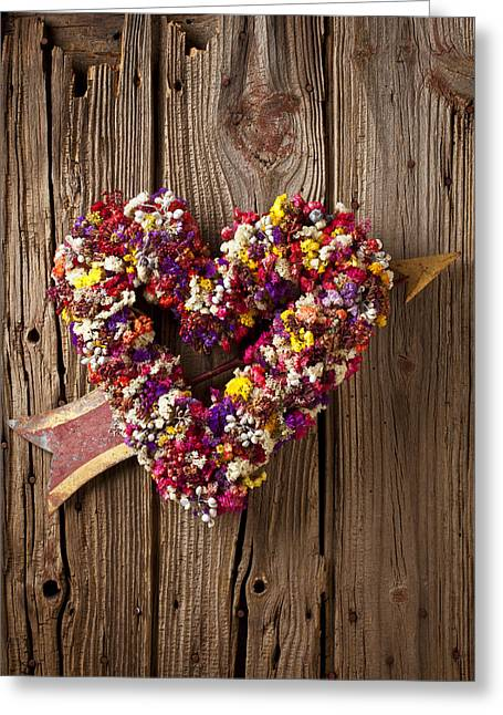 Heart Wreath With Weather Vane Arrow Greeting Card by Garry Gay