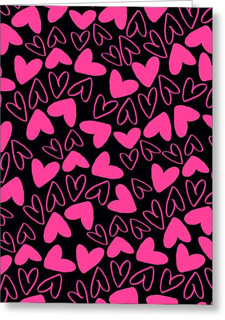 Bold Style Greeting Cards - Hearts Greeting Card by Louisa Knight