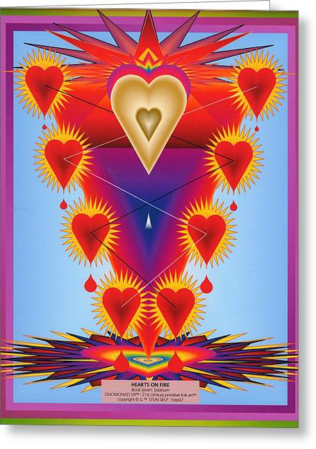 Anahata Greeting Cards - Hearts On Fire Greeting Card by Steven Welp