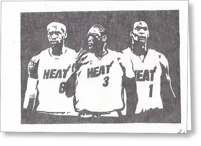Miami Heat Drawings Greeting Cards - Heat Greeting Card by Nick Theodor