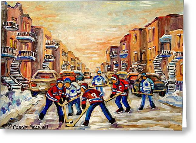 Outdoor Hockey Greeting Cards - Heat Of The Game Greeting Card by Carole Spandau