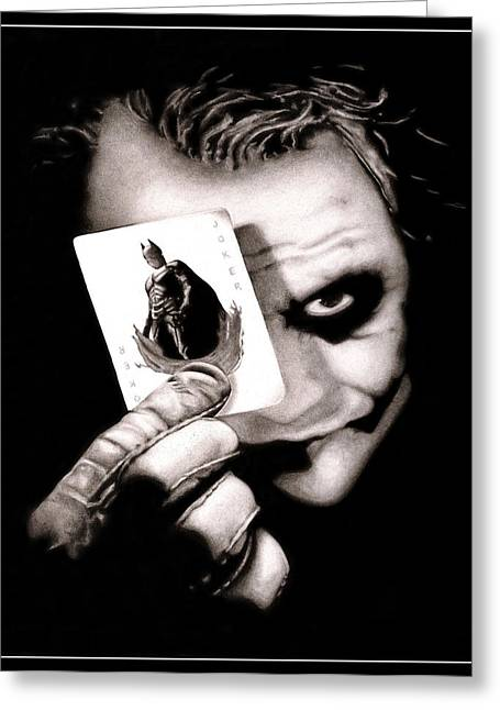 Batman Greeting Cards - Heath Ledger as The Joker Greeting Card by Kalie Hoodhood
