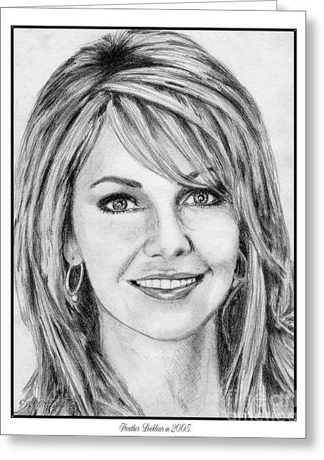 Gray Hair Drawings Greeting Cards - Heather Locklear in 2005 Greeting Card by J McCombie