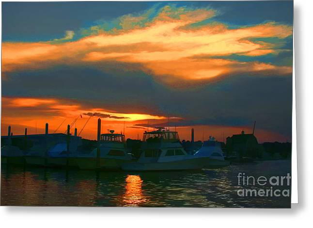 Heaven Let Your Light Shine Down Greeting Card by Christine Segalas