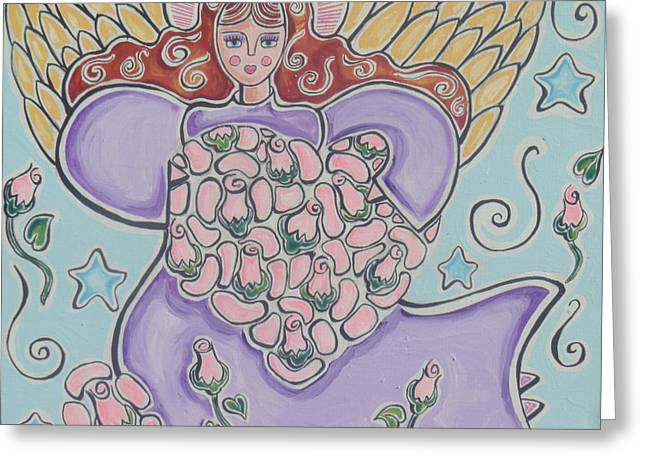 Night Angel Greeting Cards - Heavenly Love Greeting Card by Lilia  Estrada