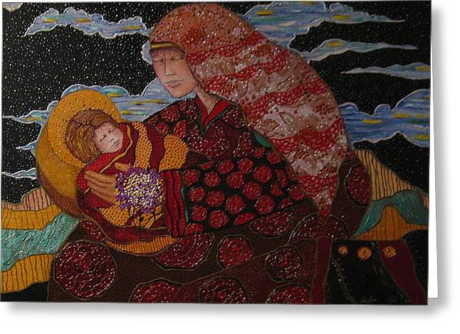 Heavenly Mother and Child Greeting Card by Dede Shamel Davalos