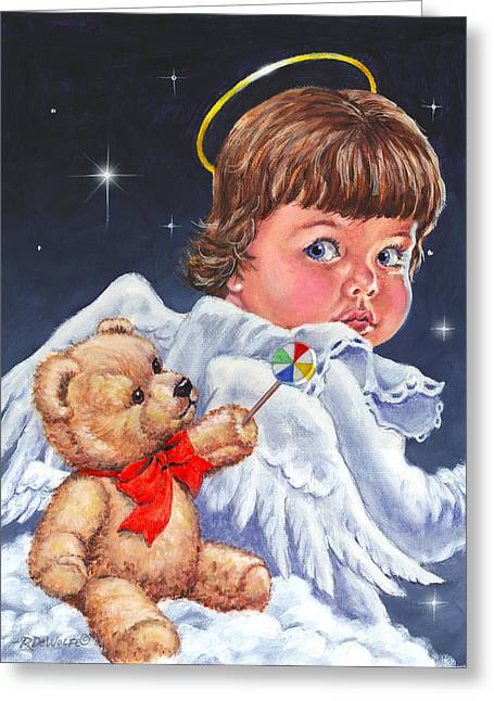 Night Angel Greeting Cards - Heavenly Greeting Card by Richard De Wolfe