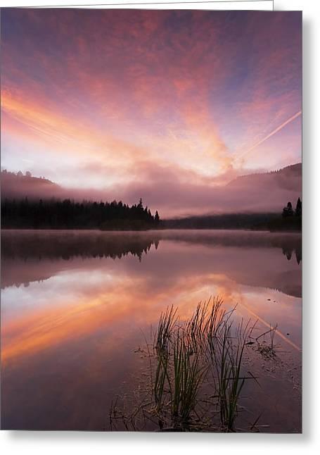 Fog Rising Greeting Cards - Heavenly Skies Greeting Card by Mike  Dawson