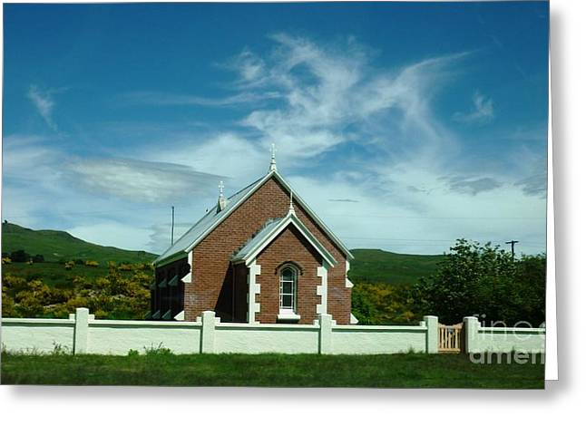 Heavenly Sky With Church Greeting Card by Therese Alcorn