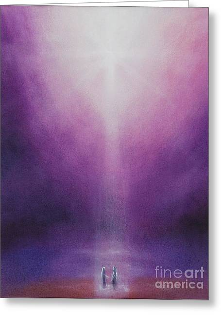 Mystical Landscape Pastels Greeting Cards - Heavenly Union Greeting Card by Iris Sullivan