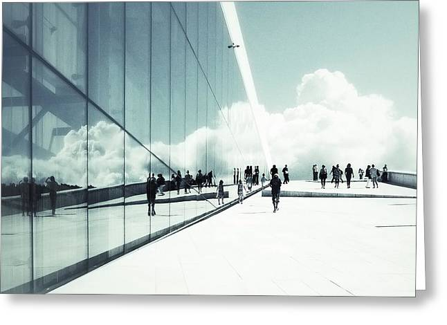 Streetphotography Greeting Cards - Heavenly walk in Oslo 2 Greeting Card by Marianne Hope