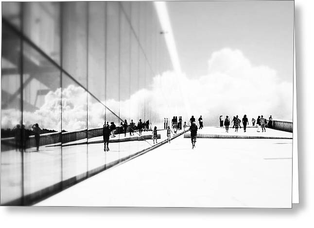 Streetphotography Greeting Cards - Heavenly walk in Oslo 3 Greeting Card by Marianne Hope