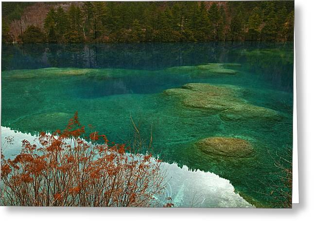 Sichuan Province Greeting Cards - Heavy Carbon Content Colors The Water Greeting Card by Michael S. Yamashita