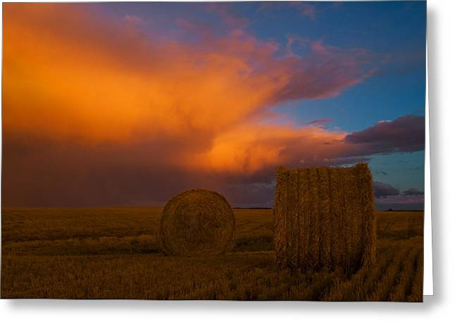 Rainbow River Greeting Cards - Heavy Clouds And Hay Bales Greeting Card by Mike Grandmailson