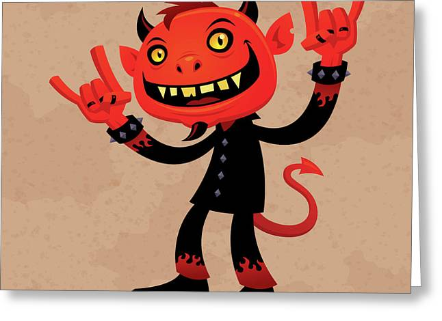 Halloween Sign Greeting Cards - Heavy Metal Devil Greeting Card by John Schwegel