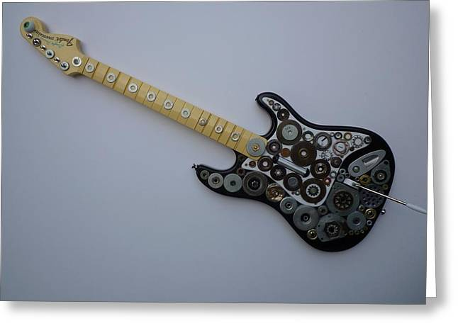 View Sculptures Greeting Cards - Heavy Metal Guitar Greeting Card by Douglas Fromm