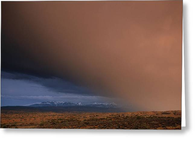 Geological Formations Greeting Cards - Heavy Rains Sweeps Across The Colorado Greeting Card by Frans Lanting