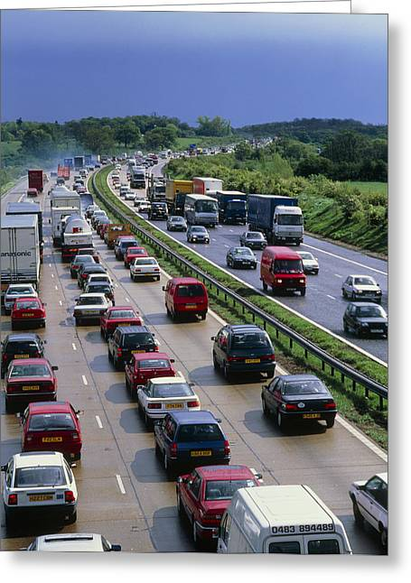 Motorway Greeting Cards - Heavy Traffic In A British Motorway Greeting Card by David Parker