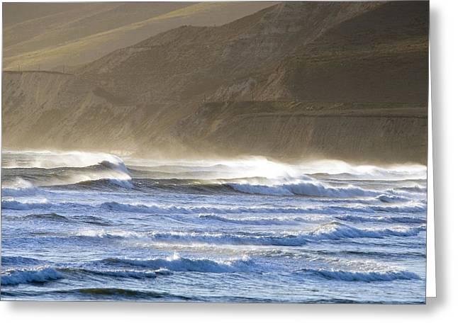 Gaviota Greeting Cards - Heavy Winds Blowing The Waves Into Mist Greeting Card by Rich Reid