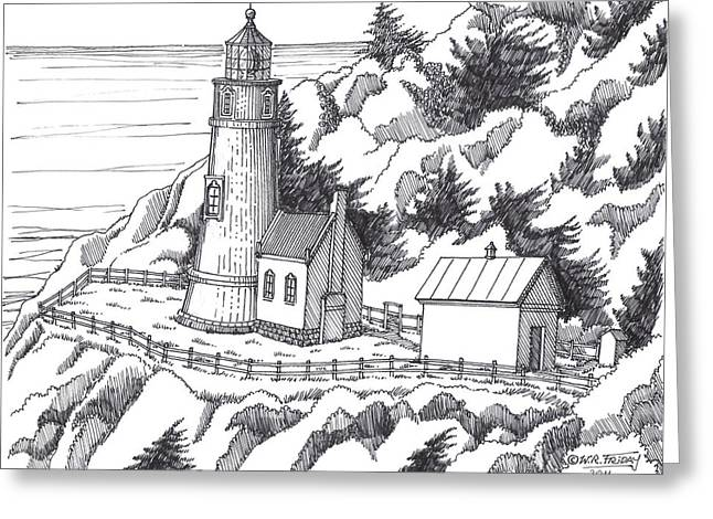 Historic Site Drawings Greeting Cards - Heceta Head Oregon Greeting Card by Bill Friday