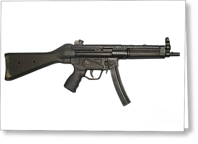 Copy Machine Greeting Cards - Heckler And Koch 9mm Mp5 Submachine Gun Greeting Card by Andrew Chittock