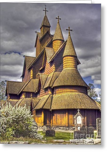 Wooden Building Greeting Cards - Heddal stave church  Greeting Card by Heiko Koehrer-Wagner
