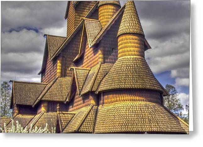 Heddal stave church  Greeting Card by Heiko Koehrer-Wagner