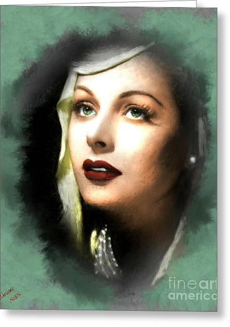 Hedy Greeting Cards - Hedy Lamarr Greeting Card by Arne Hansen