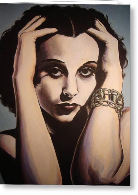 Hedy Greeting Cards - Hedy Lamarr Greeting Card by Robert Kotrola