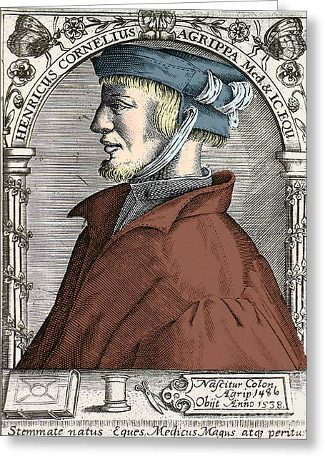 Expert Greeting Cards - Heinrich Cornelius Agrippa, German Greeting Card by Science Source